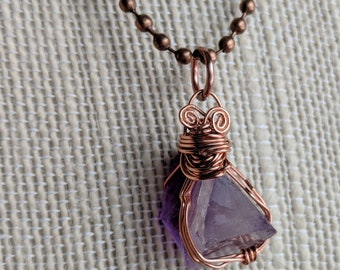 Flourite Necklace - Purple Necklace - Copper Necklace