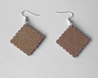 Cork in the shape of cookies earrings