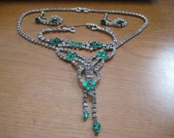 Vintage ASTRA Joseph Wiesner Parure of Choker Bracelet and Screwback Earrings with Emerald and Crystal Rhinestones