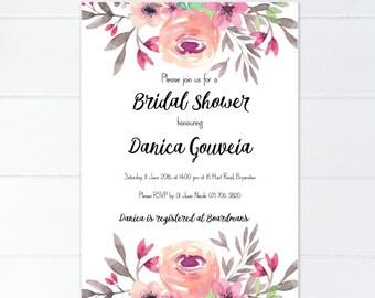 Invitation, Bridal Shower Invitation, wedding shower, Bridal shower, pink Bridal shower, pink bridal Shower, wedding shower invitation