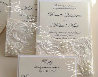 Gia - Vintage Pearl and Sequin Lace Couture Panel-Pocket Wedding Invitation w/ RSVP card - Cream and Ivory