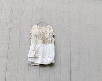 Aus weißen Tunika Recycling Upcycled Kleidung, Sommerkleid, bis radelte Kleidung, Kleidung, T-Shirt-Kleid, Blumen, Tunika, CreoleSha