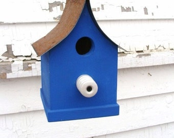 Rustic blue cottage birdhouse Outdoor Bird House Functional Birdhouses Recycled Farm Insulator