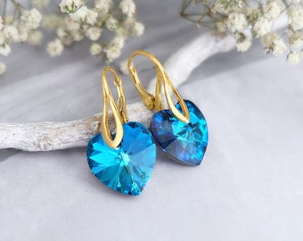 Turquoise earrings, Heart earrings, Swarovski earrings, Bridesmaid gift, Drop crystal earrings, Sterling Silver earrings, Rose gold earrings