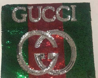 Gucci patch red green/embroidered patch/patch GUCCI sequins/gucci logo patch
