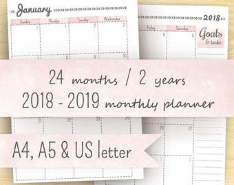 Printable Planner Calendar, 2018- 2019 Planner Inserts (2 year calendar): A5, A4 & 8.5 x 11 (letter size) << Instant Download >>