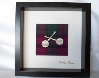 Scottish art dueling banjos cutout on tartan backing in deep frame