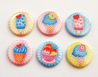 Ice Cream Magnets, Magnets, button magnets, Kitchen Magnets, Locker Magnets, Food Magnets, magnet set, ice cream, stocking stuffer (3338)
