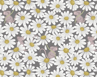 Mouse Fabric, Daisy Fabric, Lewis & Irene Love Me Love Me Not A271 3 Charcoal, Floral Quilt Fabric, Mouse Quilt Fabric, Cotton Yardage