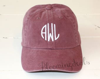 Monogram Baseball Cap Personalized Summer Hat Low Profile Pigment Dyed Unconstructed
