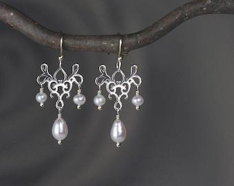 Pearl Chandelier Earrings in Sterling Silver - Dangle & Drop Sterling Silver Earrings with Natural Freshwater Pearls - 00340 - allotria
