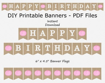 Happy Birthday Banner - Burlap & Baby Pink - Girl - Pumpkin - Fall Birthday Party - PRINTABLE - INSTANT DOWNLOAD
