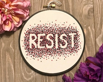 Resist Anti-Trump Activist Art - Political Hand Embroidered Hoop Art - ACLU donation