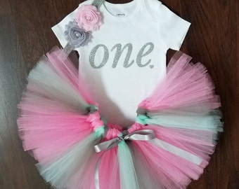 Baby Girl First Birthday Outfit - Pink, Gray and Mint Tutu