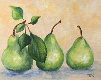 """Fresh Picked Pears  5"""" x 7"""" Original Painting on Ampersand Aquabord by Torrie Smiley"""