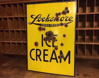 Vintage Double sided Porcelain Sign Lockshore Dairy Ice Cream from Michigan