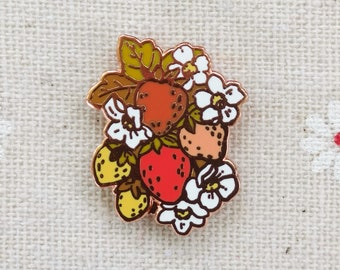 "Kitsch Strawberry Bunch Pin // Cloisonne Hard Enamel Rose Gold / Copper Lapel pin 1"" // Strawberry Enamel Pin"