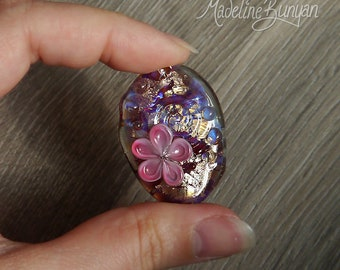 Pretty Pink Flower Bead, pendant bead, floral bead, gold, pink, red flowers, Lampwork Focal Bead SRA, handmade artisan glass,