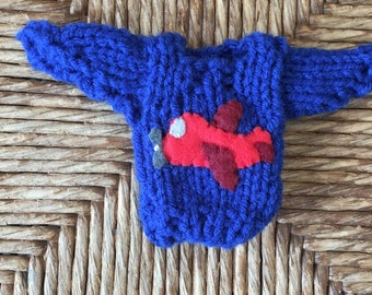 Airplane Ornament, Custom Ornament in the shape of a Mini Sweater for the Plane Lover, Pilot Gift, Airplane lover, Flying, Flight Attendant