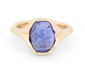 Tanzanite One-of-a-Kind Handmade 14K Yellow Gold Ring (IND1068)