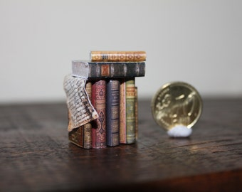 Miniature stack of books for  dollhouse