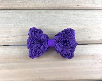 Purple hair clip, purple bow hair clip, kids stocking stuffer, holiday hair accessories for girls, toddler hair clip, flower girl hair