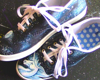 Hand painted Unicorn Canvas Shoes, Unicorn Shoes for Women, Fantasy Painted Shoes,