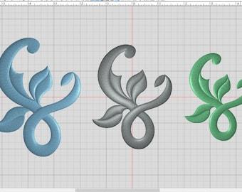 Flourish embroidery design element 3