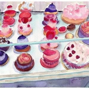 Laduree Watercolor Painting - French Pastry Case Art, Watercolor Art Print, 11x14 Wall Art