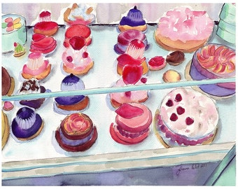 5x7 Print Watercolor Painting - French Pastry Case Art, Watercolor Art Print, 5x7 Print