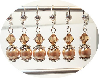 Rose Gold, Smokey Topaz, Golden Pearl, Earrings, Pearl Earrings, Bridesmaid Jewelry, Wedding, Bridal Accessories, Dressy, Dangle Earrings
