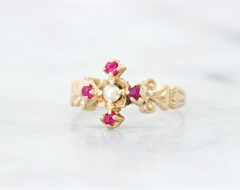 Unique Antique Ruby Ring, Victorian Jewelry, July Birthstone Red Gemstone, 14k Solid Rose Gold, Fine Vintage Jewelry, Cross Motif Size 5