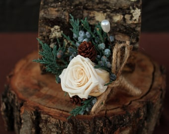 Rustic Winter Rose Wedding Boutonniere, Woodland Boutonniere, Rose Boutonniere, Grooms Boutonniere, Dried Flower Boutonniere, Bridal Bouquet