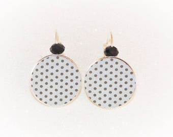 Earrings sleepers silver gray cabochon with polka dots