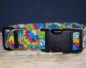 Dog Collar – Tie Dye Dog Collar – Tie Dye Paw Print Dog Collar – Paw Print Dog Collar - Handmade Fabric Dog Collar