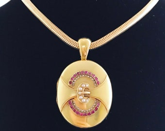 Large Victorian Gold and Ruby Buckle Motif Locket