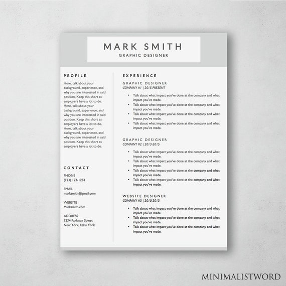 Resume Template Word Modern Resume Template Resume Cover