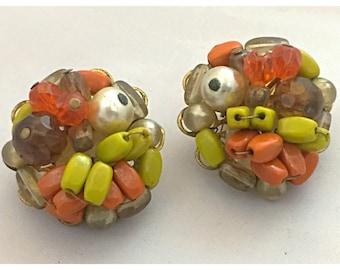 Autumn Cluster Earrings, VTG clip on Earrings, Cluster Beaded Earrings