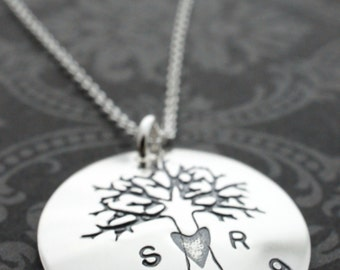 Family Tree Jewelry - Personalized Oak Tree Necklace - Custom Sterling Silver Jewelry w/ Heart, Initials, and Wedding Date by EWD