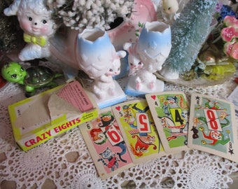 Vintage Childrens Playing Cards-Scrapbooking-Altered Art-GREAT LOT-Crazy 8's-Whitman