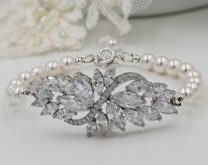 Crystal and pearl bracelet, custom bridal,   swarovski, cubic zirconia, flower, wedding , , brides mother, Made to your colour
