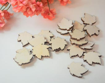"1"" Wooden Leaves, Wooden Leaf Shapes, Maple Leaf Confetti, Lasercut Shapes, Fall Leaves, Wooden Leaves, Lasercut Leaves, Leaf Cut Outs"
