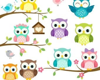 Happy OWLS Clip Art. Digital Owls Clipart. Cute Owls Clipart. Owl PNG Images. Owl Clipart. Owl Birthday Invitation. Owl Commercial Use.
