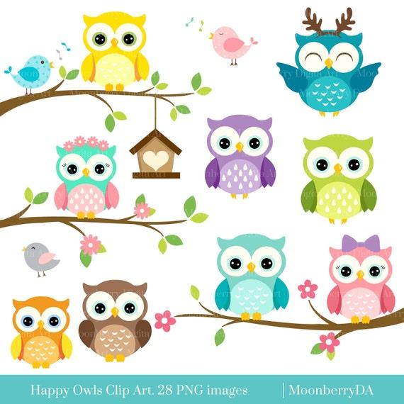happy owls clip art digital owls clipart cute owls clipart owl rh etsystudio com owl images clipart free owl images clipart black and white