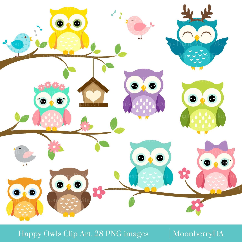 Happy OWLS Clip Art. Digital Owls Clipart. Cute Owls Clipart. Owl ...