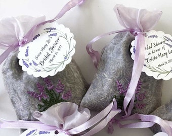 Lavender Favors w Custom Tags | Bridal Shower Sachets | Baby Shower Thank You Gifts | Dried French Lavender | Personalized Tags Name Date 12