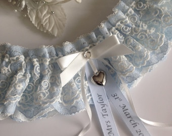 Personalised wedding garter - Blue & ivory with a heart charm, available in S/M and plus/large sizes