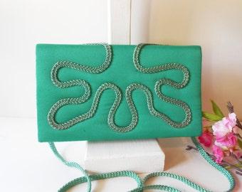 Green Evening Bag, Vintage Green Bag , Green Clutch Bag, Embroidery Clutch,  Evening Purse, Holiday Purse, Green Handbag EB-0587