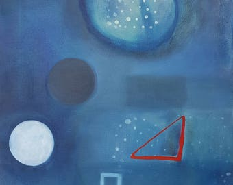 Blue grey white red original oil painting on canvas, ready to hang wall art
