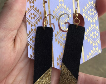 Genuine Black Leather Bar Earrings with Gold Detail